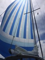 Pulled out the old asymmetrical spinnaker…flying pretty